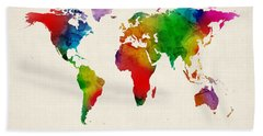 Hand Towel featuring the digital art Watercolor Map Of The World Map by Michael Tompsett