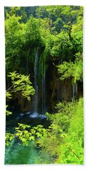 Waterfall In Plitvice National Park In Croatia Hand Towel