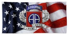 82nd Airborne Division 100th Anniversary Insignia Over American Flag  Hand Towel
