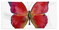 83 Red Glider Butterfly Hand Towel by Amy Kirkpatrick