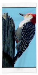 #8671 Woodpecker Bath Towel by Barbara Tristan