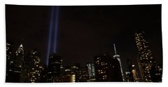 Hand Towel featuring the photograph 9-11 Tribute Nyc Skyline From Seaport by Jeff at JSJ Photography