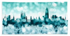 Barcelona Spain Skyline Hand Towel by Michael Tompsett