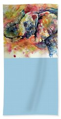 Colorful Elephant Hand Towel by Kovacs Anna Brigitta