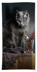 Russian Blue Hand Towel