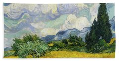 Bath Towel featuring the painting Wheat Field With Cypresses by Vincent van Gogh