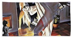 Hand Towel featuring the digital art 9926s-dm Watercolor Woman In White Confronts Herself In Mirror by Chris Maher