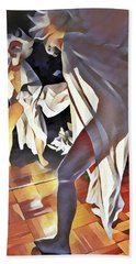 9926s-dm Watercolor Woman In White Confronts Herself In Mirror Hand Towel by Chris Maher