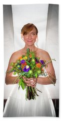 A Beautiful Backlit Bride And Her Bouquet Bath Towel