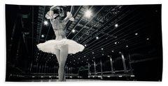 Bath Towel featuring the photograph A Beautiful Ballerina Dancing In Studio by Dimitar Hristov
