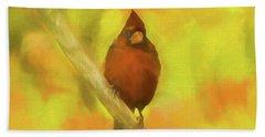 A Beautiful Red Cardinal Perching On A Limb. Bright Fall Colors  Bath Towel