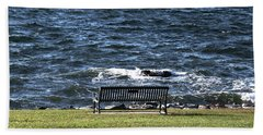 Hand Towel featuring the photograph A Bench By The Sea by Tom Prendergast