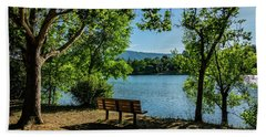 A Bench Overlooking Vasona Lake Bath Towel