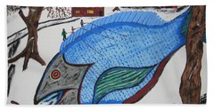 Bath Towel featuring the painting A Big Fish Tale by Jeffrey Koss