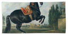 A Black Horse Performing The Courbette Bath Towel