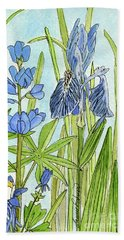A Blue Garden Hand Towel by Laurie Rohner