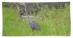 A Blue Heron Stalking The Marsh. Bath Towel