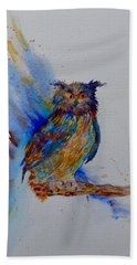 Hand Towel featuring the painting A Blue Mood Owl by Beverley Harper Tinsley