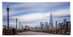 Bath Towel featuring the photograph A Boardwalk In The City by Eduard Moldoveanu
