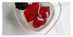 Bath Towel featuring the photograph A Bowl Of Hearts And A Blackberry by Ausra Huntington nee Paulauskaite