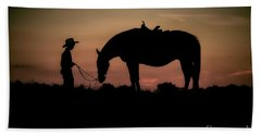 Hand Towel featuring the photograph A Boy And His Horse by Linda Blair