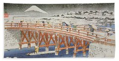 A Bridge In Yedo With Mount Fuji In The Background Bath Towel