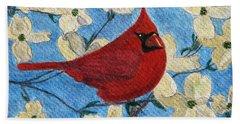 A Cardinal Spring Hand Towel by Angela Davies