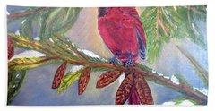 A Cardinal's Sweet And Savory Song Of Winter Thawing Painting Bath Towel by Kimberlee Baxter