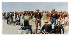 A Cavalryman's Breakfast On The Plains Hand Towel