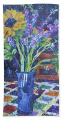 A Chair To View Sunflowers Bath Towel