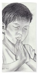 A Child's Prayer Hand Towel by John Keaton