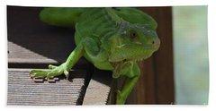 A Close Look At A Green Iguana Bath Towel by DejaVu Designs