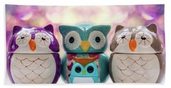 A Colourful Parliament Of Owls Hand Towel by Martina Fagan