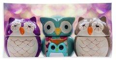 A Colourful Parliament Of Owls Bath Towel by Martina Fagan