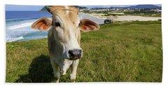 A Cow At The Beach Bath Towel