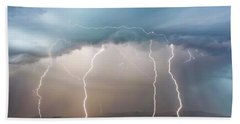 Four Lightning Bolts In The Mountains, Palominas, Arizona Hand Towel