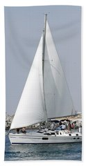 Hand Towel featuring the pyrography A Day At Sea by Shoal Hollingsworth