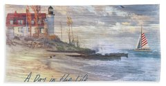 A Day In The Life At The Beach Bath Towel by Nina Bradica