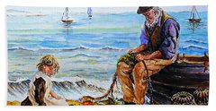 A Day With Granddad Edit Hand Towel