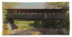 A Digital Art Photo Of A Covered Bridge In Maine Bath Towel
