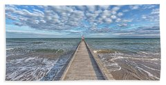 A Dock Leads To The Mediterranean Sea At The Beach Of Lido Die Jesolo, Italy Hand Towel