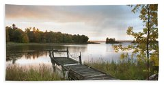 A Dock On A Lake At Sunrise Near Wawa Hand Towel
