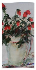 A Dozen Red Roses Hand Towel by Avonelle Kelsey