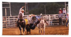Hand Towel featuring the photograph A Dusty Rodeo Challenge by Natalie Ortiz