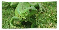 A Fantastic Look At A Green Iguana Hand Towel by DejaVu Designs