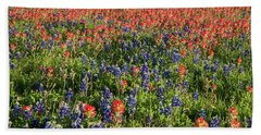 Hand Towel featuring the photograph A Field Of Paint Brush And Bluebonnets by Frank Madia