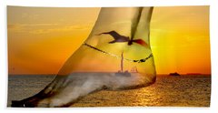 A Foot In The Sunset Hand Towel
