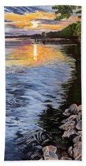 A Fraser River Sunset Hand Towel