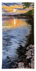 A Fraser River Sunset Bath Towel