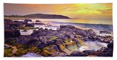 Hand Towel featuring the photograph A Gentle Wave At Sunset by Tara Turner